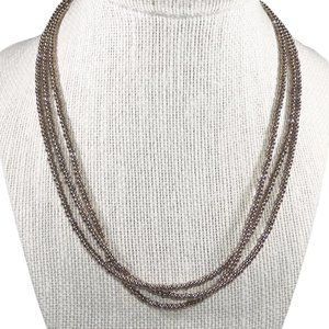 Silpada Bronze Bead Sterling Multi Strand Necklace